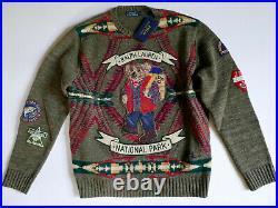 Polo Ralph Lauren Sweater Bear Hiking Park Outdoors RARE NEW Medium M Knit