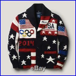 RALPH LAUREN 2014 Sochi Olympics American Flag Cardigan Sweater Men's MEDIUM