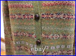 RALPH LAUREN Nordic Fair Isle 100% Wool Cardigan Sweater Leather Buttons SIZE M