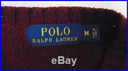 RALPH LAUREN POLO BEAR Men's M Maroon Aubergine Crew SWEATER Cotton Linen