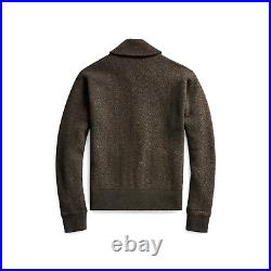 RRL Ralph Lauren Herringbone Wool Cashmere Cardigan Men's Medium Workwear Olive