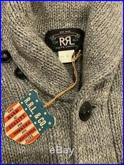RRL grey cotton shawl collar cardigan size Medium BNWT