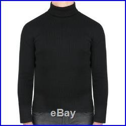 Raf Simons Black Skinny Fitting Ribbed Rollneck Jumper Sweater Knitwear S IT46