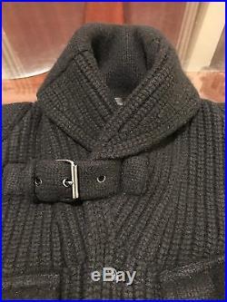 Ralph Lauren Black Label Moto Cashmere & Wool Jacket Sweater BLACK Sz Medium Fit