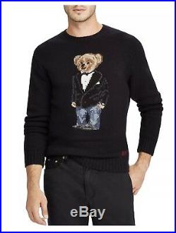 Ralph Lauren Polo Bear Crewneck Sweater, Wool Tuxedo Bear Sweater, BLACK, NWT, M