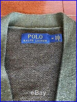 Ralph Lauren Polo Camo Tiger Letterman Varsity Cardigan Sweater Size Medium