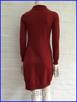 Ralph Lauren Polo Embroidered Merino Wool Collared Knit Sweater Dress M Medium