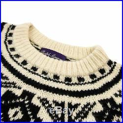 Ralph Lauren Purple Label Cream Black Cashmere Fair Isle Knit Thick Sweater M
