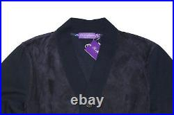 Ralph Lauren Purple Label Mens Navy Suede Leather Cardigan Button Sweater Jacket
