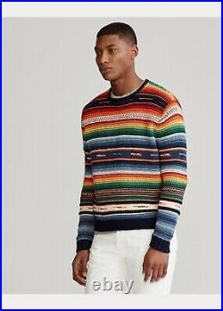 Ralph Lauren Serape Blanket Cotton Striped Knit Men M Medium Sweater Multi-Color
