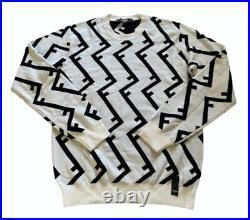 Rare Fendi Mens Logo Repeat Wool Sweater Jumper Size Small Medium Wow £595
