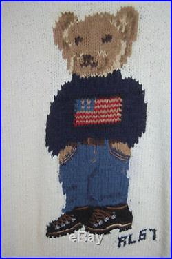 Rare POLO RALPH LAUREN hiking bear flag sweater hand knit cream vtg RL67 EUC Med