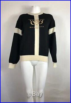 Rare Vtg Balenciaga Black Logo Sweater M