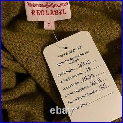 Rare Vtg Vivienne Westwood Brown Cropped Orb Logo Button Cardigan M