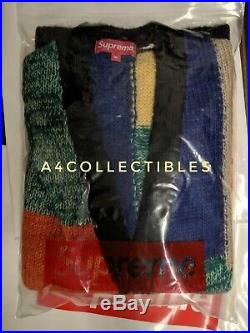 SUPREME PATCHWORK MOHAIR CARDIGAN Sweater SS19 MULTICOLOR MEDIUM Authentic FS