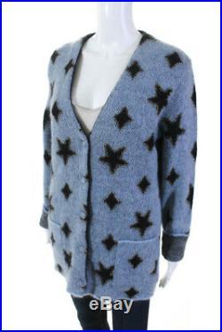 Saint Laurent Womens Button Down Cardigan Sweater Star Mohair Blue Size Medium