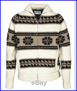 Schott Mens Cowichan Sweater Jacket F1604 Wool Size MEDIUM & LARGE