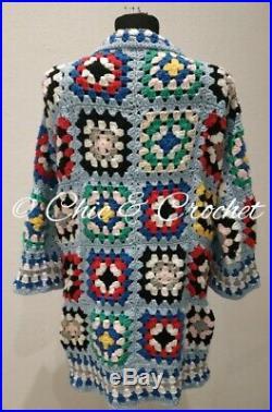 Sexy Crochet Granny Squares Coat Boho Vintage Gypsy Hippie Cardigan Sweater