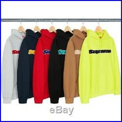 Supreme Chenille Hoodie Sweatshirt Grey Medium Mens Jumper Sweater Logo Hype Box