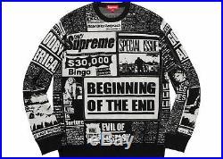 Supreme Newsprint Sweater Black Medium