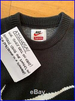 Supreme X Nike Swoosh Sweater Black Medium BRAND NEW