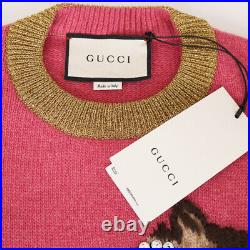 Sz M NEW $1980 GUCCI Pink CAT TEACUP GLASSES Ignasi Monreal Wool SWEATER TOP NWT