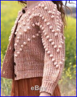 The GREAT. Marled Bobble Sweater Savanna Rose Knit Pink Size 2 Medium NWT Doen