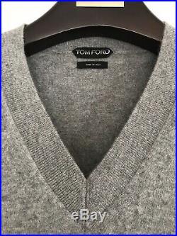 Tom Ford Mens Classic Grey Cashmere V Neck Sweater Jumper Size 48 Medium TFK100