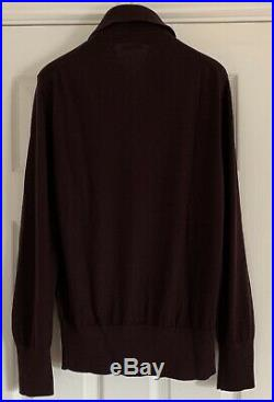 Tom Ford Mens Knitted Claret Polo Shirt L/S 100% Cashmere Sweater Eu 48 Medium