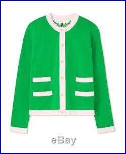 Tory Burch Kendra Garden Party Dress Green Pink Cardigan Sweater Top 6 8 Medium