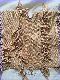 ULLA JOHNSON Reya Fringed Cotton Knit Sweater Poncho Pullover Blush Nude