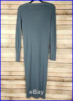 VINCE Medium Womens 100% Cashmere Gray Ribbed Long Button Cardigan Sweater