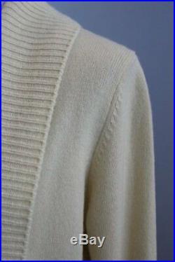 VINCE Sz M Medium Cream 100% Cashmere Wide Collar Cardigan Sweater NWT