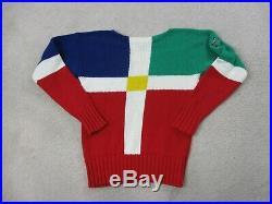 VINTAGE Ralph Lauren Polo Sweater Adult Medium Red Green Cross Flags Mens 90s