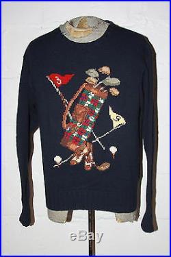 VTG Polo Ralph Lauren Hand Knit Bear Golf Sport Bag Sweater Navy Blue Sz M