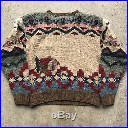 VTG Polo Ralph Lauren Hand Knit Wool Sweater Cowboy Indian Kanye West RARE Aztec