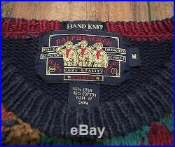 VTG Polo Ralph Lauren Southwest Patchwork Hand Knit Linen/Cotton Sweater MEDIUM