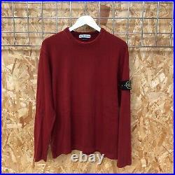 Vintage 2000s Stone Island crewneck jumper/sweater/pullover M MEDIUM Marina red