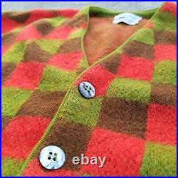 Vintage 60s 70s Mohair Orlon Blend Checkered Cardigan Sweater Size Medium