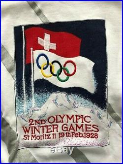 Vintage Adidas Take Off St Moritz 1928 Winter Olympics Sweatshirt Sweater M