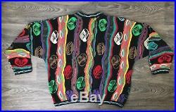Vintage COOGI Sweater VTG 80s 90s Multicolor 3D Australia Hip Hop Cosby Size M