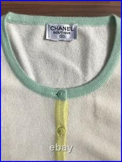 Vintage Chanel Boutique Cashmere Cardigan Sz M Cream Multicolor Trim