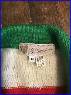 Vintage Gucci Red and White Striped Sweater Polo Wool Medium
