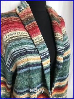 Vintage Hand Knit Ralph Lauren Serape Southwest Sweater Cardigan Duster Sz Med