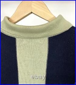 Vintage ISSEY MIYAKE Mens Layered Look Striped Button Collar Sweater Size Medium