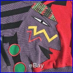 Vintage Kansai Yamamoto 1980s Knitted Face Design Sweater Rare Japan