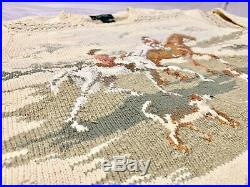Vintage Lauren Ralph Lauren LRL Cowboy Equestrian Dogs Hand Knit Sweater MEDIUM