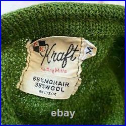 Vintage Mohair Cardigan Long Hair Green 50s 60s Rare Vintage Used Unisex F/S JPN