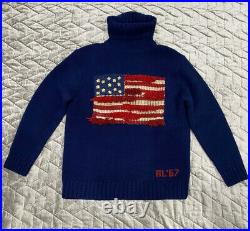 Vintage Polo Ralph Lauren American Flag Turtle Neck Sweater Mens Size M