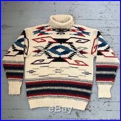 Vintage Polo Ralph Lauren Handknit Wool Southwest Patterned Sweater Mens M
